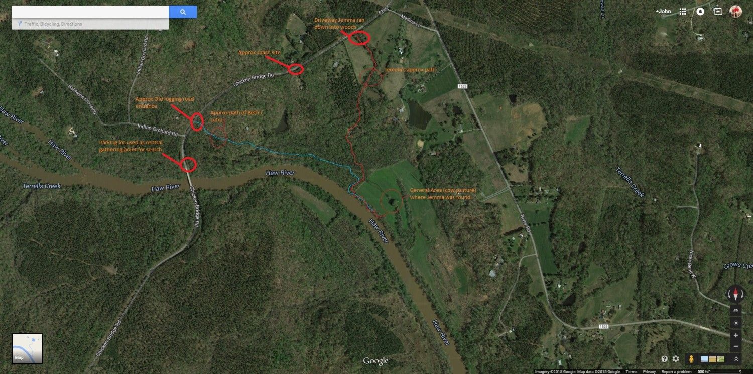 Map created to help search teams in hunt for Jemma. Click to expand.