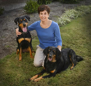 Karen Munana with two dogs