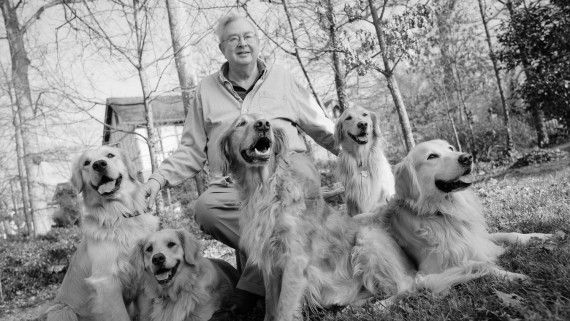 Randall B. Terry and his beloved golden retrievers