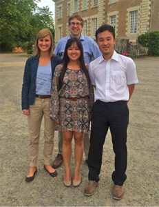 The working group at the EAVPT congress in Nantes, France, 2015. From left to right: Dr. Sarah Ehling,  Joy Ganchingco, Dr. Wolfgang Baeumer, Dr. Tomoki Fukuyama