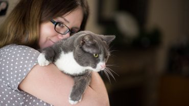 Anni Bond with Gremlin. Photo by Nathan Latil/NC State Veterinary Medicine