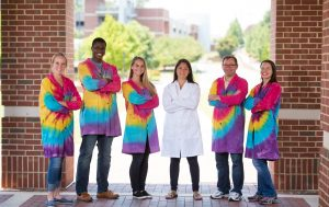 NC State CVM Intestinal Regenerative Medicine lab members in tie dyed lab coats