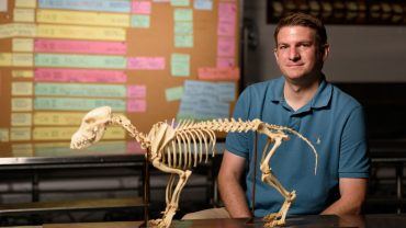 Man in blue shirt sitting with skeleton of animal