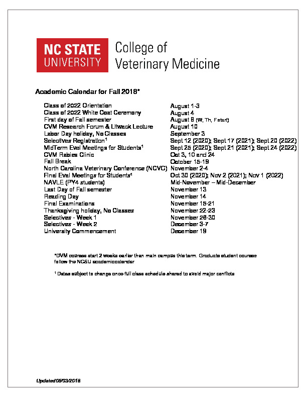 Calendars & Schedules | NC State Veterinary Medicine