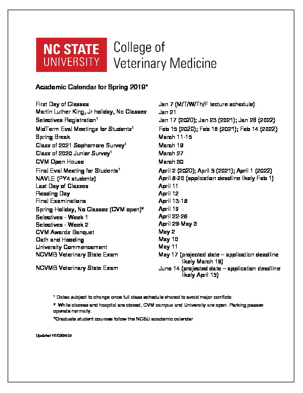 Ncsu 2020 Calendar Calendars & Schedules | NC State Veterinary Medicine