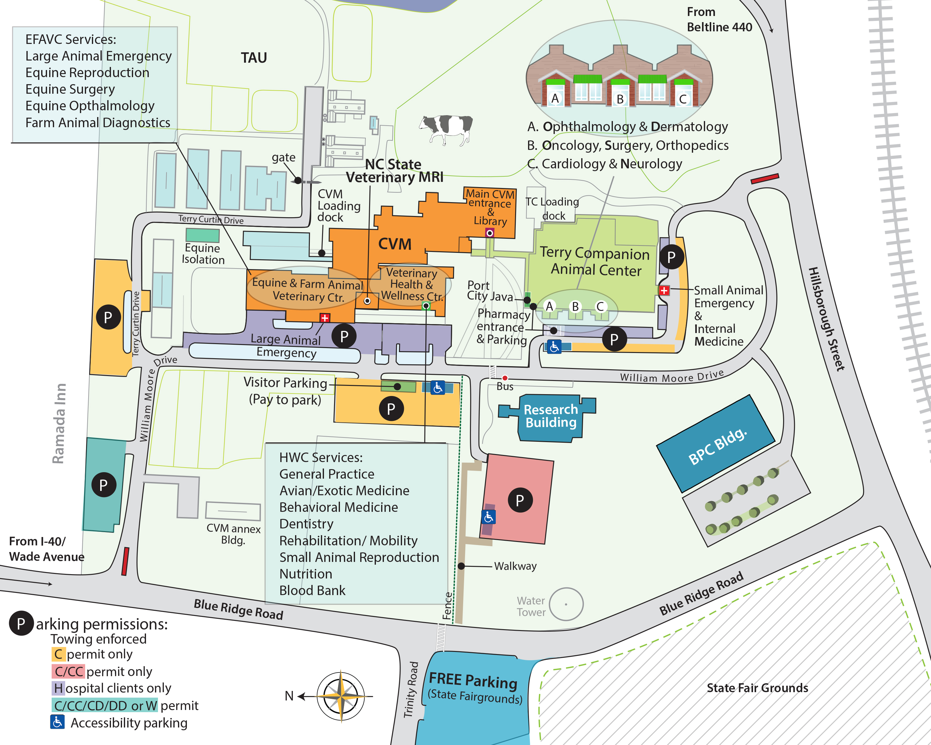 Unc Greensboro Campus Map.Directions Nc State Veterinary Medicine