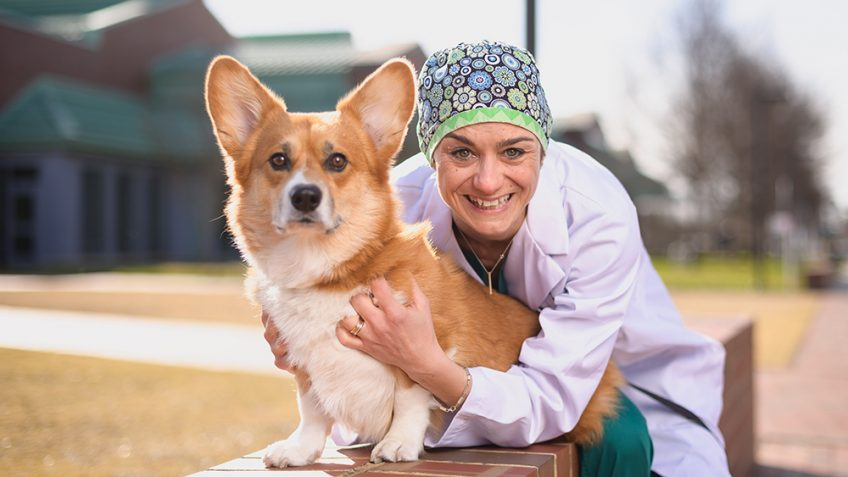 Ludovica Chiavaccini and her dog Italo Photo by John Joyner/NC State Veterinary Medicine