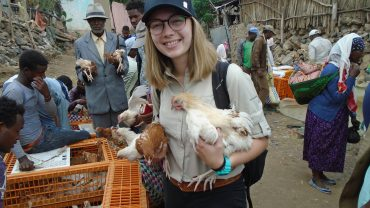 Hannah Sather visits a poultry market in Ethiopia as part of her global health certificate summer research project.